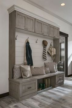 modern farmhouse Mudroom design with custom built in lockers, locker storage in mudroom ideas, hooks and bench in back foyer mudroom, mudroom storage, mudroom organization with shoe storage Home Design, House Entrance, Entrance Ideas, Hallway Ideas, House Front, Mudroom, House Plans, New Homes, Decoration