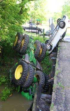 Bad Day For This John Deere - Whenever collisions occur between farm machinery and cars or trucks, the operator of the farm machinery is almost always the most severely injured - no matter the sizes of either vehicle. TAO