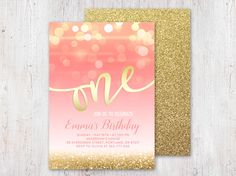 Pink and Gold First Birthday Invitation, Girl 1st Birthday Invitation, ONE invitation, First Birthday Party Invitation, Glitter, Printable by YourLittlePoster on Etsy https://www.etsy.com/listing/275863450/pink-and-gold-first-birthday-invitation