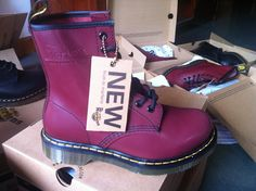 Dr Martens 1460  Cherry Red Smooth Size:UK3-UK10 ,EU36-EU45/46 Email:wangxia11073@hotmail.com Dr Martens 1460, Dr. Martens, Cherry Red, Red Green, Combat Boots, Smooth, Winter, Shoes, Black
