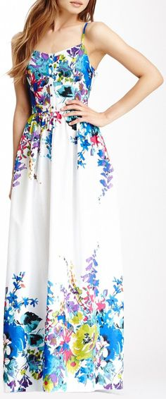 Blue Floral Maxi Dress ♡