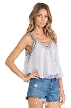 Free People Coasting on a Dream Top en Bleu Dauphin