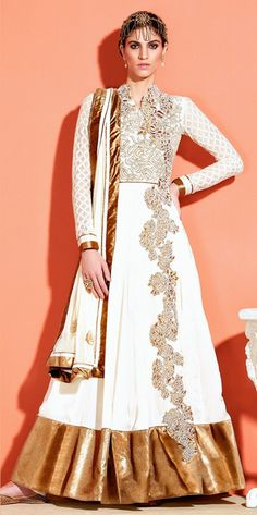 White and Gold Floral Anarkali