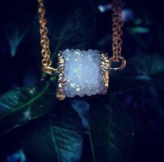 STARGAZER // Natural White Crystal Druzy Pendant by ShopParadigm