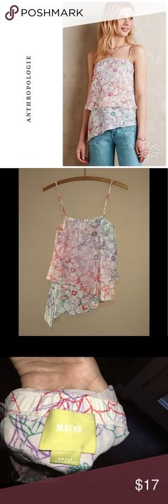 Anthropologie Daisy Garden top By Maeve . Has adjustable straps . Size s and will fit a 2-6 best . In excellent condition. Will bundle for 10% off. Asymmetric hemline. Tiered top Anthropologie Tops Camisoles