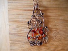 Tree of Life Pendant Crab Fire Agate Carnelian by OurFrontYard, $39.77