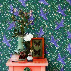 Zwaluw patroon groen blauw 359023   behang Rice van Eijffinger   kleurmijninterieur.nl