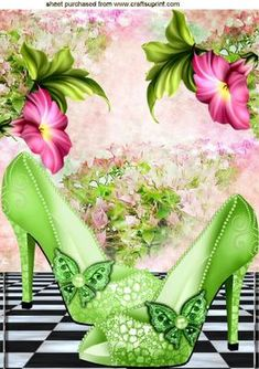 PRETTY GREEN SPARKLE SHOES WITH FLOWERS A4 on Craftsuprint designed by Nick Bowley - PRETTY GREEN SPARKLE SHOES WITH FLOWERS A4, Makes a pretty card, lots of other designs to see, Also can be seen in A5 - Now available for download!