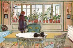 Karin Larsson, wife of the famous Swedish artist Carl Larsson, created most of their unique home that Carl portrayed in his paintings. She set the foundation for the down-to-earth and airy Swedish style of interior decoration. Carl Larsson, Art And Illustration, Carl Spitzweg, Flower Window, Swedish Style, Inspiration Art, Arts And Crafts Movement, Large Painting, Painting Art