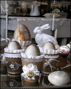 simple peat pots decorated for Easter