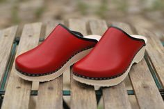 sabots / finnish clogs TALLA cuir rouge