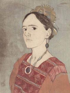 Davina as Frida, Forty Fridas ~ Woodcut Etching ~ Ellen Heck