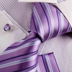 Purple mens ties dark violet Stripes Woven Silk Tie Hanky Cufflinks Gift Box Set Y Mens necktie Set H8033: Clothing