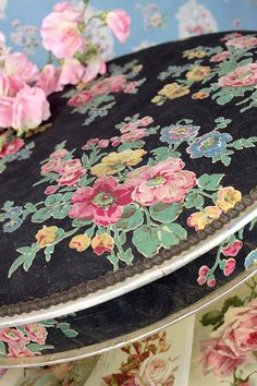 Beautiful Vintage Floral Fabric Covered Box.
