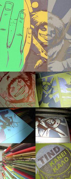 experimental print + comic art designed by http://www.vasilislolos.com/ printed by ~tind on deviantART
