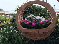 Wooden Hanging Planter Basket | The Home Depot Community