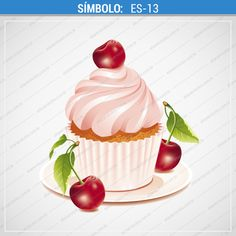 Illustration about Vector illustration of chocolate cupcake with cherry on a plate. Illustration isolated on white background. Illustration of snack, single, sweet - 14635192 Image Birthday Cake, Happy Birthday Cake Photo, Happy Birthday Cake Pictures, Cupcake Illustration, Beautiful Cake Images, Birthday Images Hd, Different Types Of Cakes, Cherry Cupcakes, Cupcake Drawing