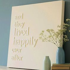 white letters on white canvas - gorgeous finished wall decoration