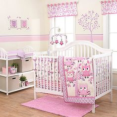 Levtex Baby Night Owl 4 Piece Crib Per Set Pink Nursery Bedding And The Nights