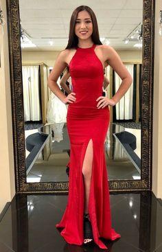 f3486c78a7 Red Formal Evening Dress, Prom Dress, Mermaid Long Prom Dress With Side  Slit, Red Prom Dress
