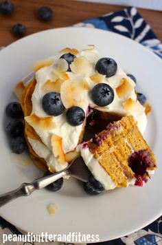 Blueberry Coconut Cream Protein Pancakes -  Deliciously moist and fluffy protein pancakes with a delicate coconut flavor and sweet blueberries.  They're a little bit orange because I ran out of applesauce and used some pumpkin puree instead to keep them moist!  Servings: 1 • Calories: 419 • Fat: 11 g • Protein: 38 g • Carbs: 44 g • Fiber: 9 g • Sugar: 12 g • Sodium: 307 mg • Cholesterol: 35 mg