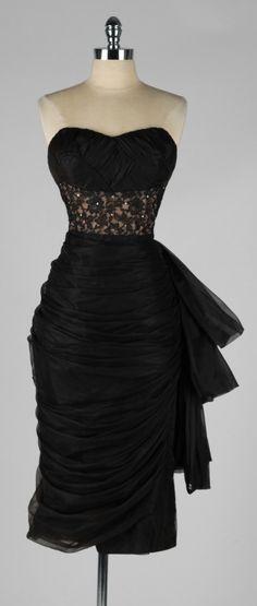 Vintage 1950's Lilli Diamond Black Chiffon Cocktail Dress