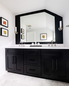 Bathroom Remodeling - Black Double Vanity with Large Mirrored Wall Transitional Bathroom, Newark Double black bathroom vanity with large bathroom mirror, black skin wall panel and satin nickel sconces. Large Bathroom Mirrors, Black Vanity Bathroom, Modern Bathroom, Master Bathroom, Bathroom Vanities, Bathroom Renovations, Home Remodeling, Home Addition Cost, Bathroom Trends