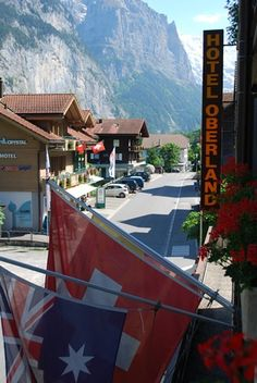 My favorite area of Switzerland is in the Alps.  This is the view from the Hotel Oberland in Lauterbrunnen.  Lauterbrunnen is about 20 minutes from Interlaken by train.  It is a very small village.  In the afternoon, you can see (and hear) the cows go through the village up to the hills - their bells ringing.  Waterfalls abound.  Hotel has great rates and a restaurant serving delicious food.