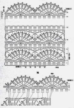 How to Crochet Wave Fan Edging Border Stitch - Crochet Ideas Crochet Borders, Crochet Diagram, Crochet Stitches Patterns, Crochet Chart, Stitch Patterns, Crochet Tunic, Crochet Doilies, Crochet Clothes, Crochet Lace
