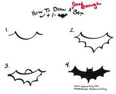 how to draw bats three ways Easy Halloween Drawings, Halloween Doodle, Halloween Painting, Halloween Signs, Art Drawings For Kids, Doodle Drawings, Doodle Art, Easy Drawings, Bat Sketch