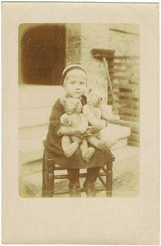 Girl with two Teddy Bear, Vintage Photo
