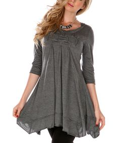 Take a look at this Gray Ruched Tunic - Women & Plus on zulily today! Aster