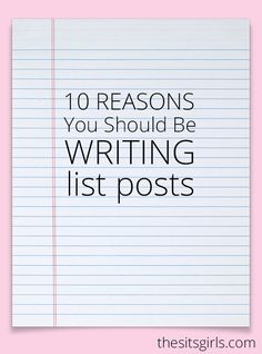 List posts are popular because they work. Check out our list post of 10 reasons why you should be writing list posts of your own! Writing Lists, Writing Prompts, Branding, Blogging For Beginners, Make Money Blogging, Social Media Tips, Blog Tips, Making Ideas, How To Start A Blog