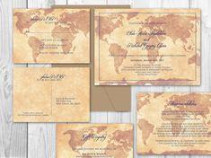 DESTINATION WEDDING printable wedding invitation set - World travel theme wedding