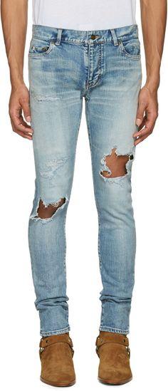 SAINT LAURENT Blue Low Waisted Skinny Jeans. #saintlaurent #cloth #jeans