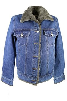 Womens Denim Jacket w Rex Rabbit Fur Lining Small Dark DenimGrey * Visit the image link more details.