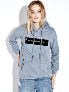 Casual Women Letter Printed Pocket Loose Hooded Sweatshirt