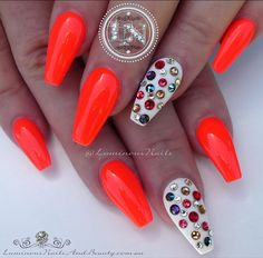 Cheerful & Fun 🏓🍭 Sculptured Acrylic with @gellyfitaustralia Candy CA919 & Fall/Winter FW101, Mixed Coloured Swarovski Crystals. #gellyfitaustralia #swarovskicrystals #bright #orange #neon #fun #cheerful #acrylicnails #gelnails #luminous #luminousnails #luminousnailsandbeauty #goldcoast #queensland #australia #nailart #colourful