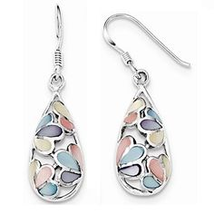 Sterling Silver Teardrop Shell Earrings in Pastel Colors for Older Girls and Teens