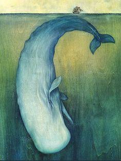 """New York'lu sanatçı Lisel Jane Ashlock'un Table Talk Magazine için yaptığı """"Moby Dick"""" illüstrasyonu."""