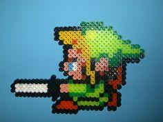 LoZ Link with Sword hama perler beads by davedudedead