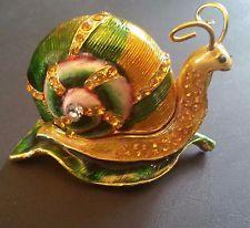 Bejeweled Pewter Snail Trinket Box with Swarovski Crystals