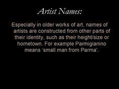 Glossary entry: 'Artist Names'