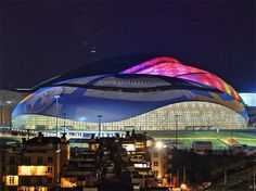 The Bolshoy ice dome was one of the 2014 Winter Olympic games' venues. The dome, which has about seats, hosted the indoor winter sports during the 2014 Olympics and will be used as a t… Winter Olympic Games, Winter Games, Winter Olympics, Winter Activities, Architecture Design, Amazing Architecture, Olympic Venues, Olympic Hockey, Olympic Medals