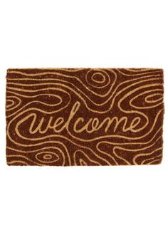 wood grain welcome mat. LOVE.