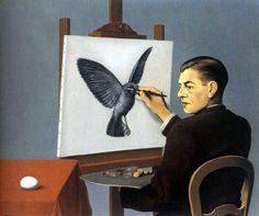La Clairvoyance,(a self portrait),1936 -Magritte