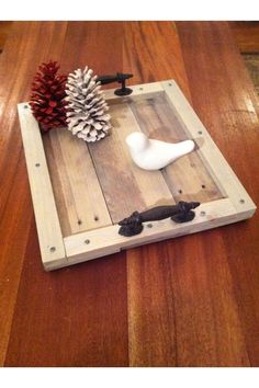 Reclaimed Gray Driftwood Pallet Serving Tray With Metal Handles @ $49 +$12 s/h