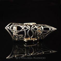 Celtic Trinity Ankh Design Silver Hinged Full Finger Ring
