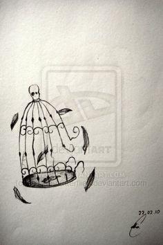 Empty bird cage.