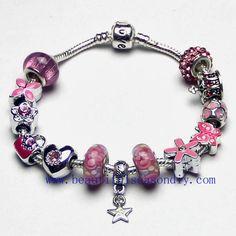 Pandora Fashion shiny pink charm bracelet,LOVE,Star pendant women jewelry,Butterfly, flower,crown,bag,snake bone chain,custom,Wholesale or retail